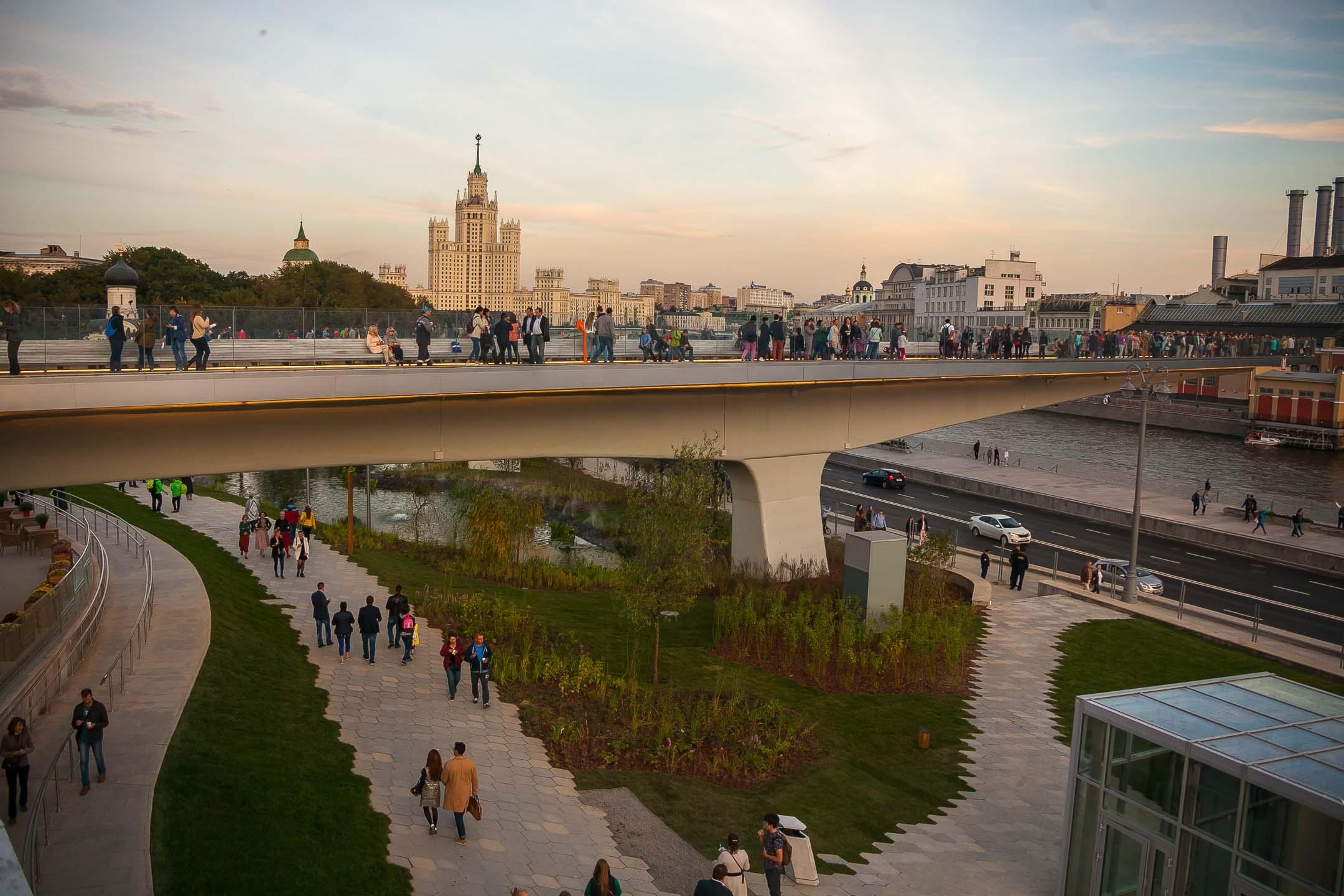 Панорама Парящего моста в «Зарядье»
