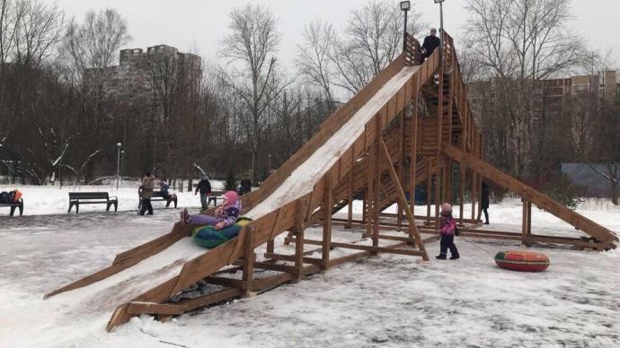 В парке «Северное Тушино» открылась тюбинговая горка